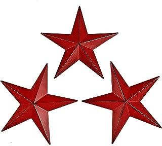 Bellaa 23554 Western Star Metal Wall Decor Texas Barn Red 12 inch 3pcs (Red 23554, Medium)