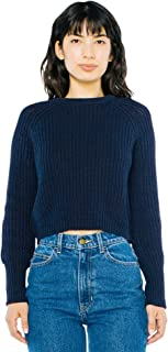 American Apparel Women's Cropped Fisherman Long Sleeve Pullover