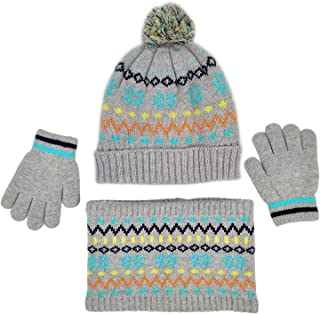 Baby Boys Neck Warmer Hat Mitten Sherpa Lined Toddler Knit Beanie Cap Soft Infinity Scarf and Children Winter Gloves 3Pcs Set