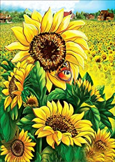 DIY 5D Diamond Painting by Number Kits, Full Drill Crystal Rhinestone Embroidery Pictures Arts Craft for Home Wall Decor Gift (Sunflower flower, 11.8x15.7inch)