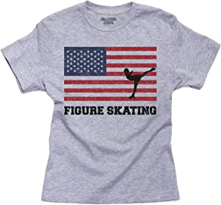 Hollywood Thread USA Olympic - Figure Skating - Flag - Silhouette Youth Size T-Shirt
