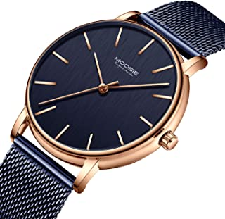 Men's Watches Simple Business Fashion Ultra Thin Unisex Minimalist Dress Analog Quartz Waterproof Wrist Watch with Mesh Band
