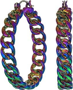 Steve Madden - Curb Hoop Hinge Earrings
