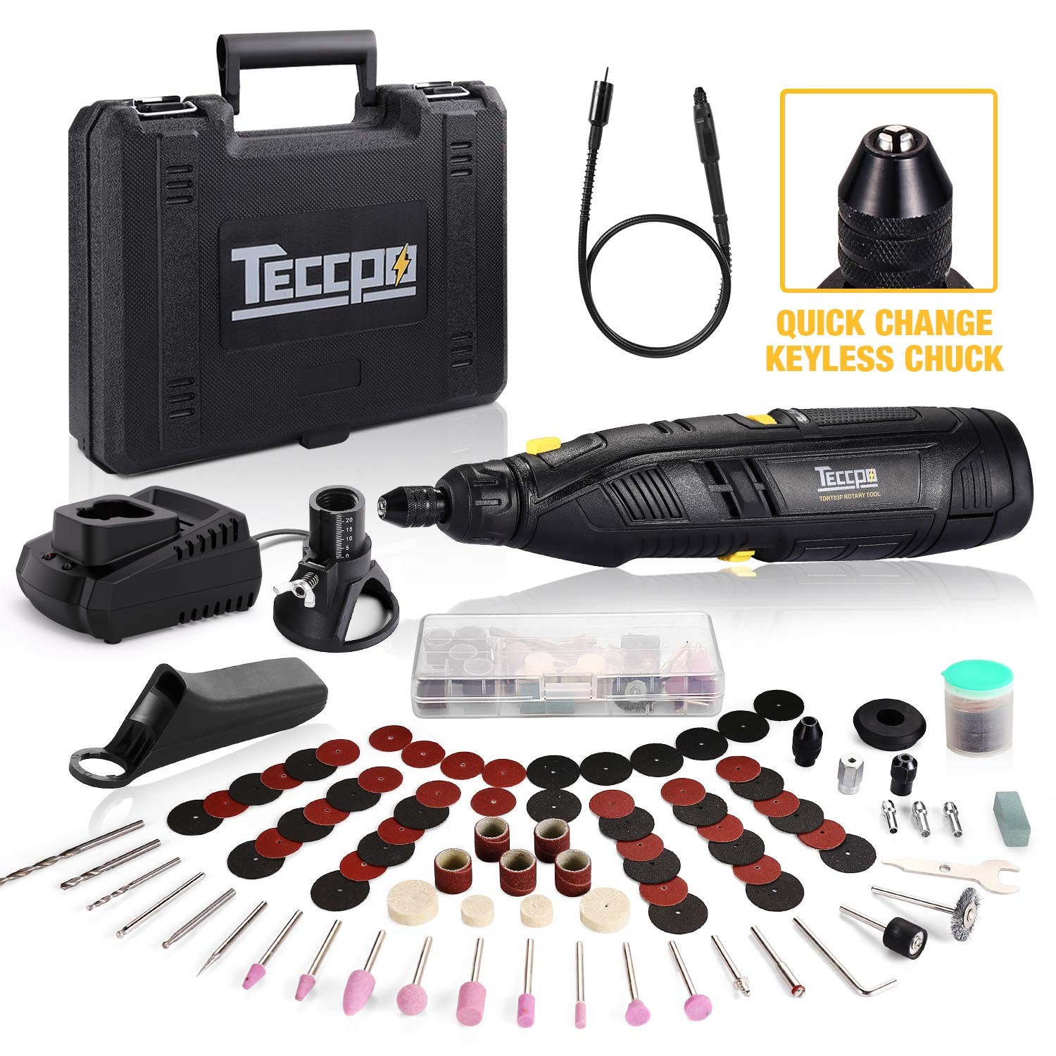 TECCPO 12V Powerful ordless Rotary Tool Kit