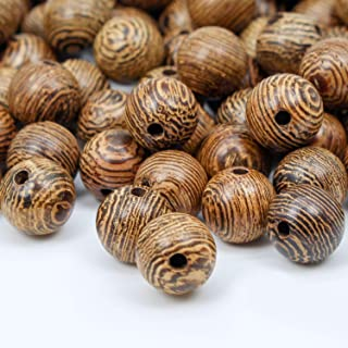 Prometis 200pcs 6mm Natural Sandalwood Round Beads Gorgeous Craft Handmade Polished Spacer Beads with Elastic Cord for Bracelets Necklace DIY Jewelry Making, 3 Sizes (6mm, 8mm, 10mm)