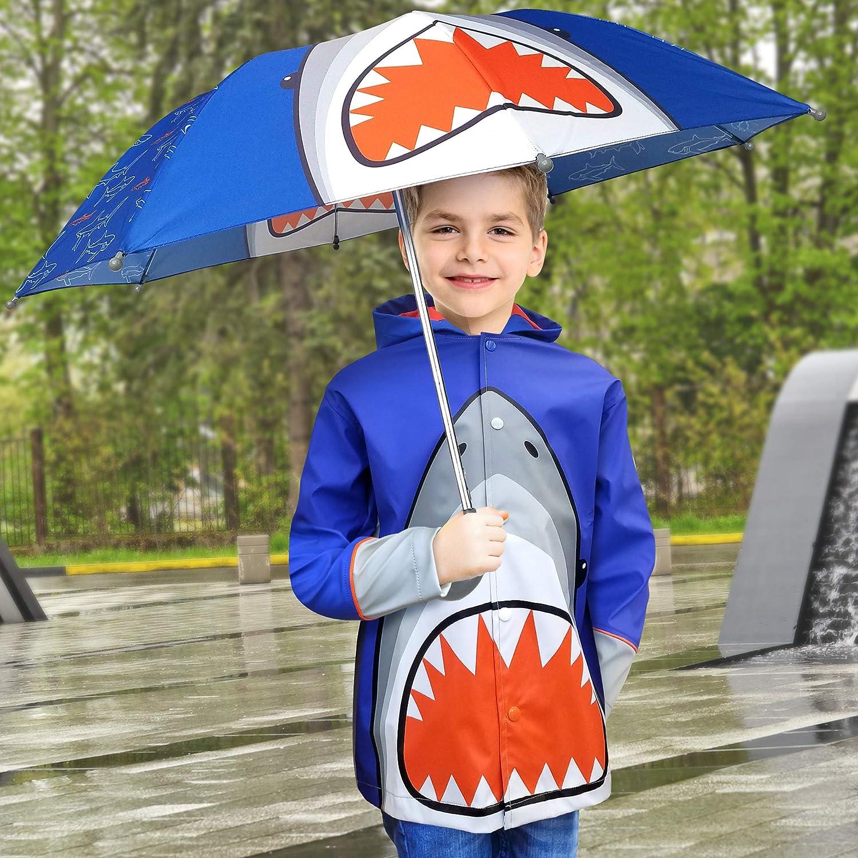 7. Shark Design Kids Umbrella and Raincoat Set