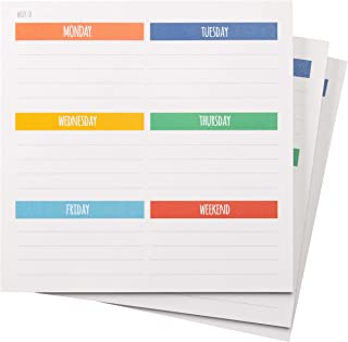 Weekly Paper Planner to Do List Memo Mousepad (7.5 x 7.5 in, 3 Pack)