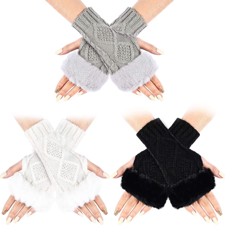 3 Pairs Women Winter Knit Gloves Warm Fluffy Fingerless Mitten Thumb Hole Hand Warmer Gloves