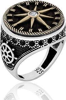 تصميم بوصلة خاتم من الفضة الإسترلينية 925 للرجال مجوهرات تركية بحرية للرجال مع هيلم موتيف وزركون مكعب