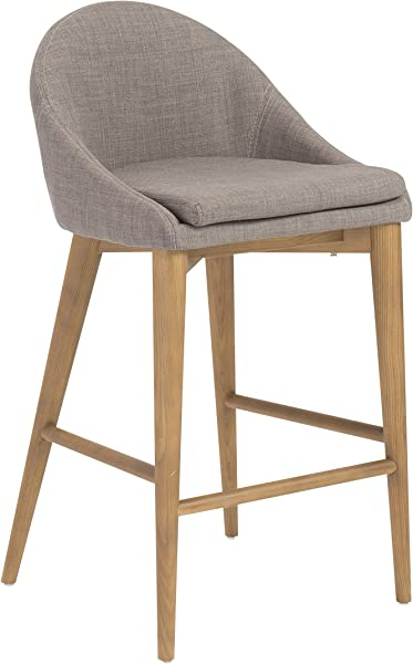 Euro Style Baruch Counter Height Stool In Walnut Finished Legs Dark Gray