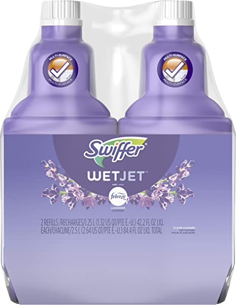 Swiffer Wetjet Hardwood Floor Mopping And Cleaning Solution Refills All Purpose Cleaning Product Lavender Vanilla And Comfort Scent 1 25 Liter 2 Pack