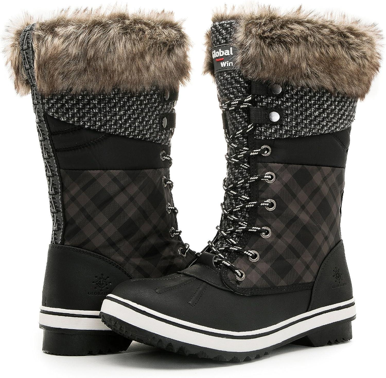 GLOBALWIN Women's 1733 Black Winter Snow Boots 5.5M