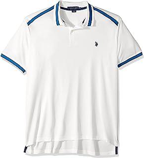 يو اس بولو اسن قميص بولو رجالي كلاسيكي ذو أكمام قصيرة من البوليستر الصلب