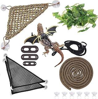 Hamiledyi Bearded Dragon Tank Accessories Lizard Hammock Climbing Jungle Vines Adjustable Leash Bat Wings Flexible Reptile...