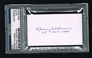 Norm Ullman signed autograph auto 2x3.5 cut Hockey Hall of Fame PSA Slabbed