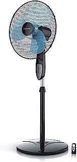Brandson - 40cm Ventilador de pie con Control Remoto Oscilación 85° 3 Niveles de Potencia 50W Flujo de Aire Elevado Negro