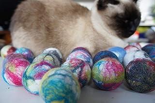 猫のおもちゃ。ウールボール。 生態や自然羊毛。 手作り。羊毛フェルト. 5個セット (5)