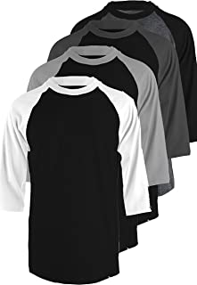 TL Men's 4 Pack 3/4 Sleeve Baseball Cotton Crew Neck Jersey Raglan Tee Shirts S to 5XL