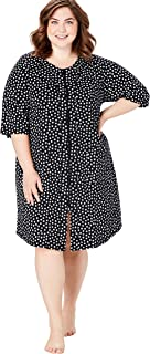 Dreams & Co. Women's Plus Size Short French Terry Zip-Front Robe