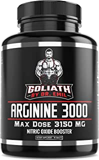 Dr. Emil - L Arginine (3150mg) Highest Capsule Dose - Nitric Oxide Supplement for Muscle Growth, Vascularity, Endurance and Heart Health (AAKG and HCL) - 90 Tablets