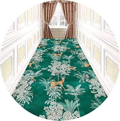 Floral Hallway Runner Rug 3M / 4M / 5M / 6M / 7M Long, Modern Area Rugs Carpet, Entryway Hallway Stairence Multipurpose Floor Mats, Washable,Green,1 * 2m