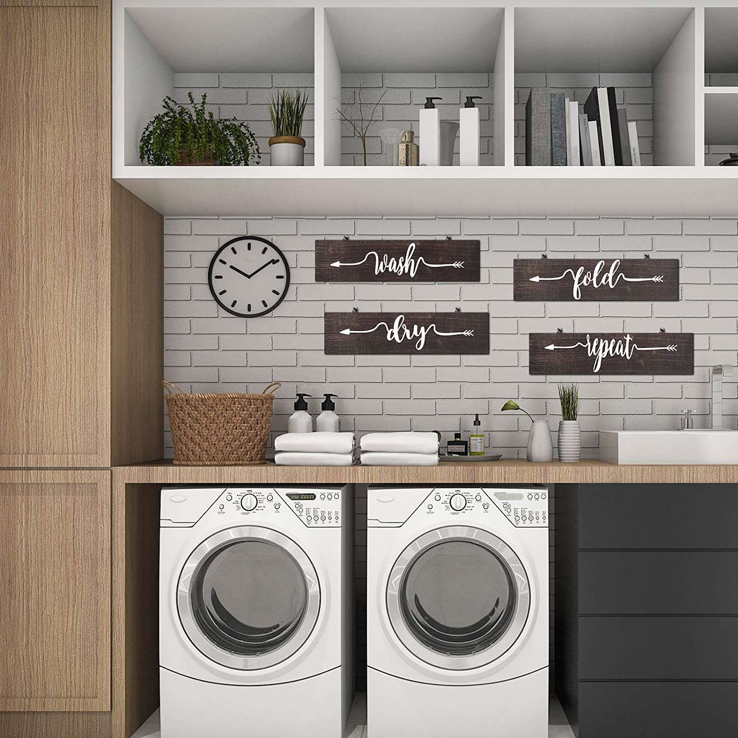 20 Pieces Rustic Laundry Signs Laundry Room Decor Hanging Wall Decor Sign  Laundry Room Decor Laundry Room Wall Art Wash Dry Fold and Repeat Sign for  ...