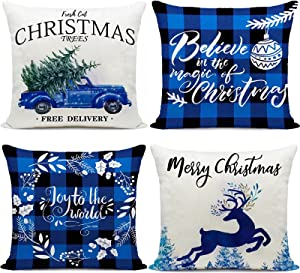 Hlonon Christmas Decorations Pillow Covers 18 x 18 Inch Set of 4 Blue Buffalo Check Farmhouse Deer Plaid Pillowcases for Sofa Couch Home Office Winter Holiday Decor