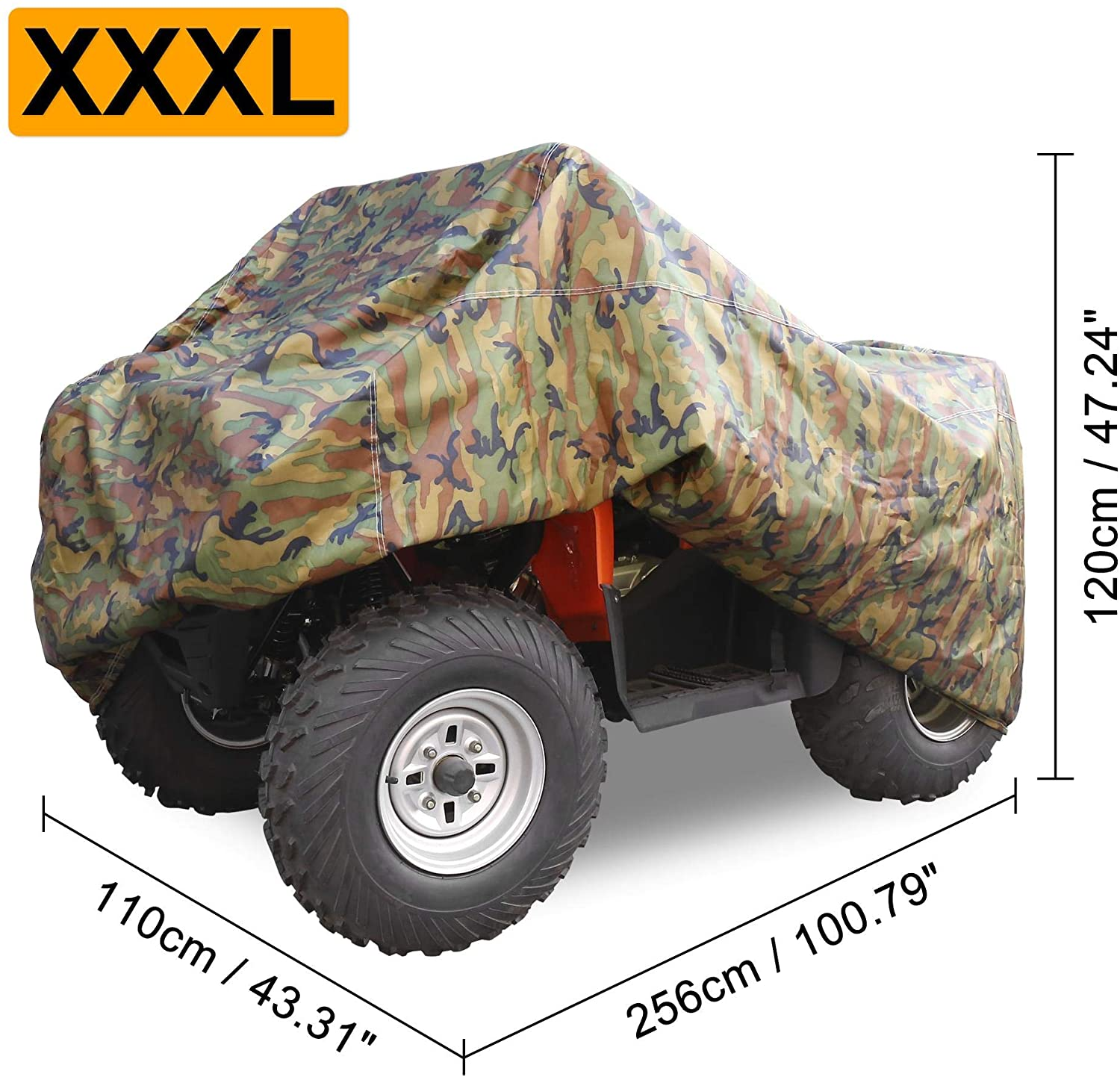 X AUTOHAUX L Camo 79 Inch ATV Quad Covers Waterproof Outdoor Oxford Cloth Durable 4 Wheeler Rain Cover Accessories All Weather UV Protection for Kawasaki for Polaris for Suzuki for Can Am