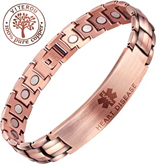 VITEROU Free Engraving-Custom Magnetic Solid Pure Copper Therapy Health Emergency Medical Alert ID Bracelet for Men,3500 Gauss,8.5 Inches