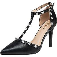 Vostey Women's High Heels T-Strap Pumps