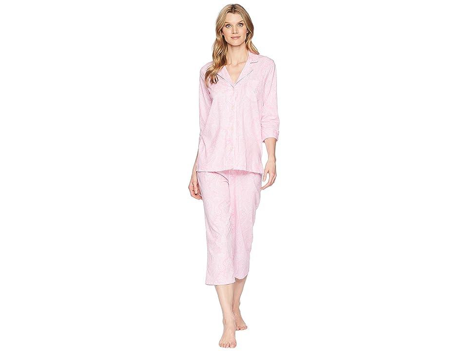 LAUREN Ralph Lauren Essentials Bingham Knits Capri PJ Set (Pink Paisley) Women