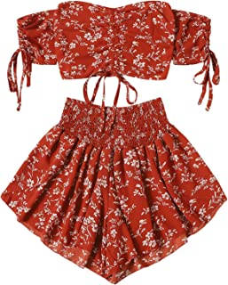 Women's Boho Floral Two Piece Outfit Off Shoulder Drawstring Crop Top and Shorts Set