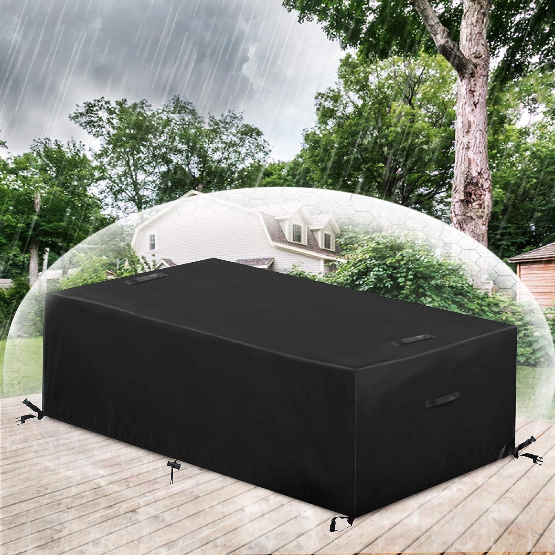 ESSORT Funda protectora para muebles de jardín, cubierta protectora para la lluvia, para muebles de jardín, mesas rectangulares, muebles de terraza, resistente al agua, 213 x 123 x 74 cm