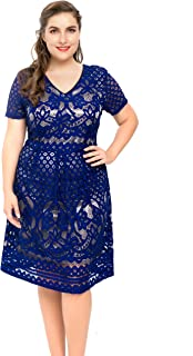 76a132564ea4 Chicwe Women s Plus Size Lined Floral Lace Skater Dress - Knee Length  Casual Party Cocktail Dress