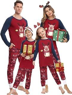Hawiton Pijamas de Navidad Familia Conjunto de Pijamas de Hombre Mujer Niño Niña Invierno Manga Larga Algodón Ropa de Dorm...