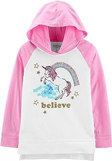 OshKosh B'Gosh Big Girls Unicorn Glitter Believe with Rainbow Studded Rhinestones Hooded Tunic Long Sleeve Pink and White ...
