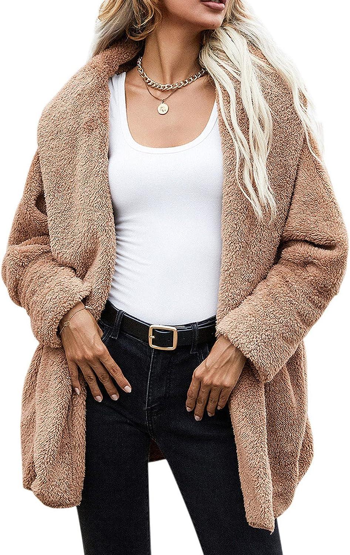 Womens Oversized Open Front Draped Cardigan Long Sleeve Overcoat Lapel Fleece Fuzzy Faux Shearling Outerwear Sherpa Jacket