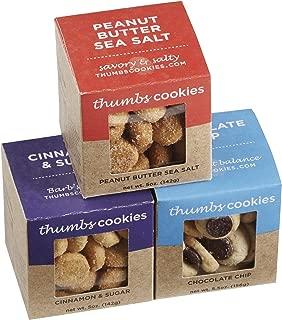 Thumbs Cookies Variety Pack of Fresh Baked Cookies in 3 Boxes - Chocolate Chip Cookies, Cinnamon Sugar Cookies, and Peanut Butter Sea Salt Cookies - 1 lb. Cookie Gift Box