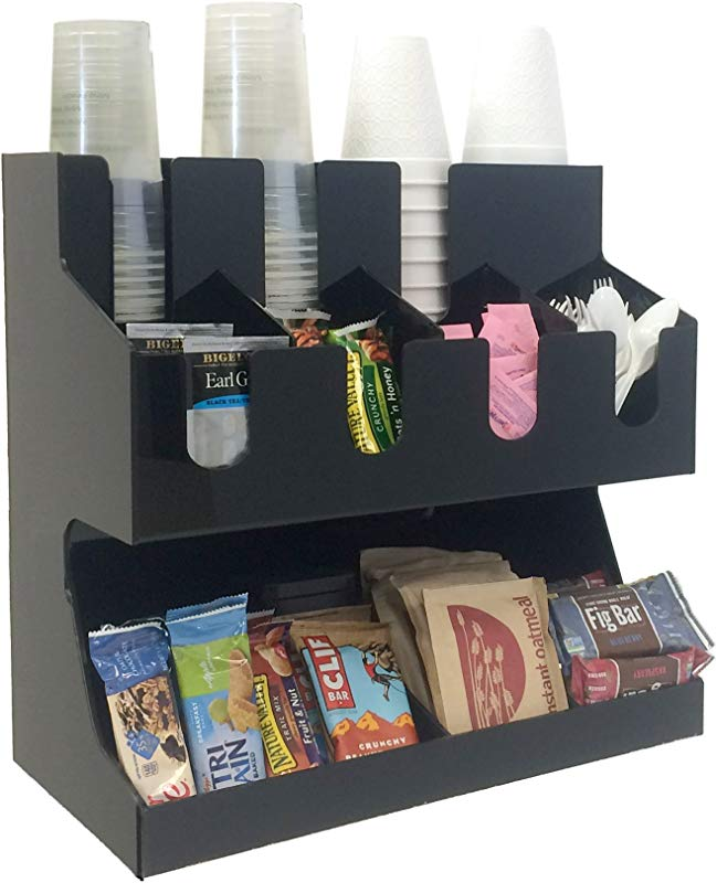 Mind Reader Coffee Condiment And Accessories Caddy Organizer For Coffee Cups Stirrers Snacks Sugars Etc Black