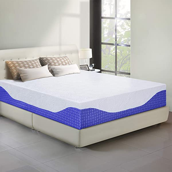 PrimaSleep 12 Inch Multi Layered I Gel Infused Memory Foam Mattress Cobalt Blue Queen