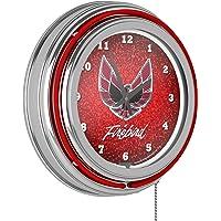 Pontiac Firebird Red Chrome Double Ring Neon Clock Deals