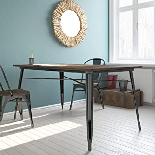 DHP Fusion Metal Rectangular Dining Table with Wood Table Top, Distressed Metal Finish for Industrial Appeal, Black