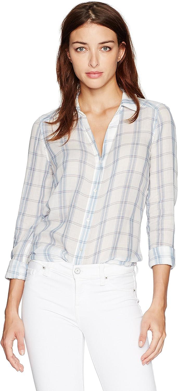 PAIGE Womens Kiernan Shirt White Pale Mauve ButtonDown Shirt