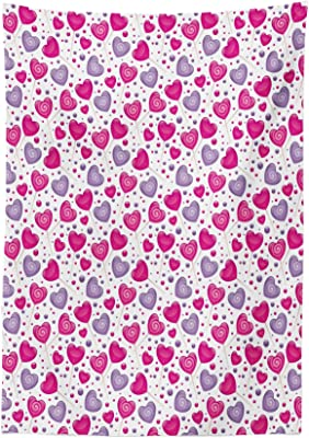 Ambesonne Valentine Tablecloth, Heart Shaped Lollipops Candies with Spirals Cute Romantic Love Theme Pattern,