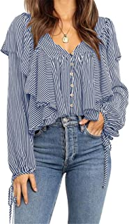 SZIVYSHI Long Sleeve Bishop Sleeve Deep V Neck Ruffled Ruffle Hem Tie Button Front Striped Stripe Blouse Shirt Top
