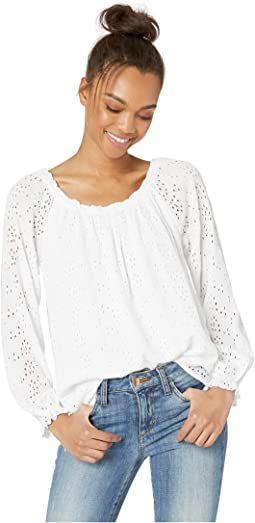 Blooming Eyelet Ballet Neck Blouse