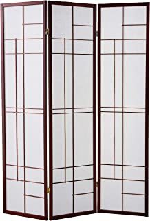 3-Panel Folding Floor Screen White and Cherry