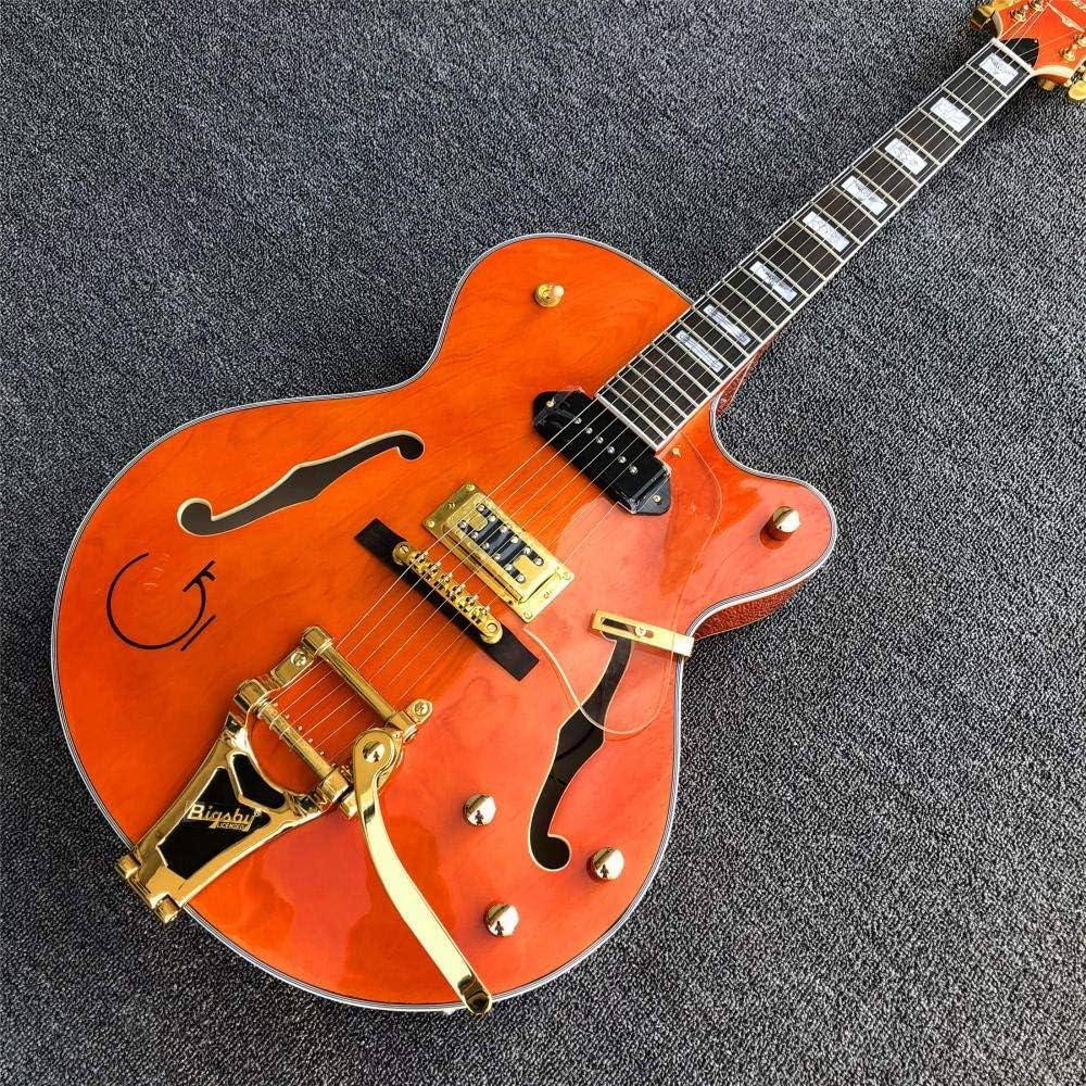 SYXMSM Guitarra Eléctrica del Jazz WithGolden Hardware Naranja Semi Hueco De La Guitarra del Cuerpo De Jazz (Size : 40 Inches)