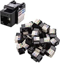 Cable Matters 25-Pack Cat6 RJ45 Keystone Jack in Black and Keystone Punch-Down Stand