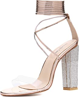 Women Rhinestone Covered Block High Heel Sandals Clear Open Toe Ankle Lace Up Pump